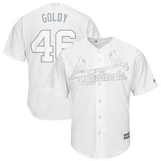 Men's Cardinals #46 Paul Goldschmidt White Goldy Players Weekend Cool Base Stitched Baseball Jersey