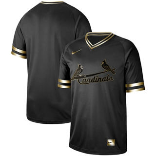 Men's Cardinals Blank Black Gold  Stitched Baseball Jersey