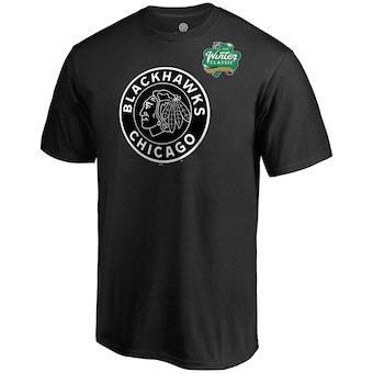 Men's Chicago Blackhawks Black 2019 Hockey Winter Classic Primary Logo Short Sleeve T-Shirt