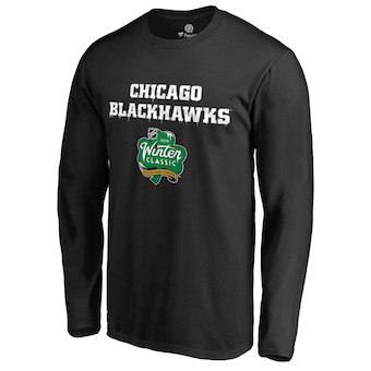 Men's Chicago Blackhawks Black 2019 Winter Classic Alternate Logo Long Sleeve T-Shirt
