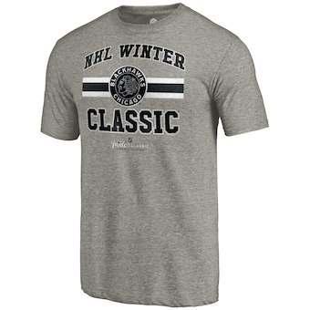 Men's Chicago Blackhawks Heathered Gray 2019 Hockey Winter Classic Vintage Tri-Blend T-Shirt