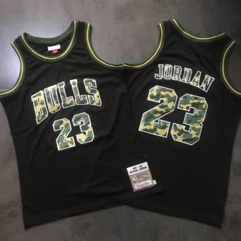 Men's Chicago Bulls #23 Michael Jordan Black Camo 1997-98 Hardwood Classics Jersey