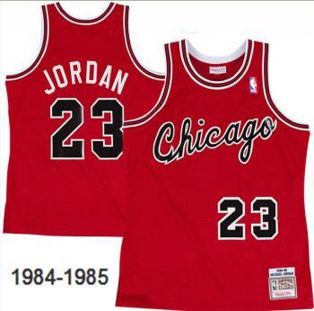 Men's Chicago Bulls #23 Michael Jordan Red 1984-85 Hardwood Classics Mesh Basketball Throwback Jersey