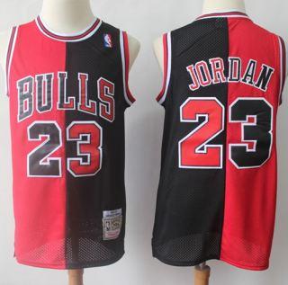 Men's Chicago Bulls #23 Michael Jordan Red Black Split Fashion Stitched Basketball Jersey