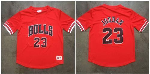 Men's Chicago Bulls #23 Michael Jordan Red Mitchell & Ness Mesh Jersey