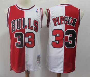 Men's Chicago Bulls #33 Scottie Pippen Red White Split Stitched Basketball Throwback Jersey