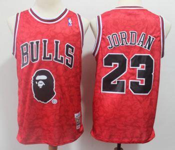 Men's Chicago Bulls Bape #23 Michael Jordan Red Hardwood Classics Basketball Throwback Jersey