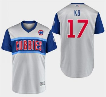 Men's Chicago Cubs #17 Kris Bryant KB Gray 2019 Baseball Little League Classic Player Jersey