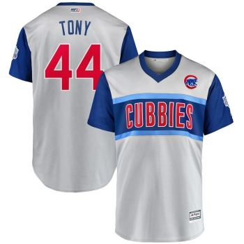 Men's Chicago Cubs #44 Anthony Rizzo Tony Gray 2019 Baseball Little League Classic Player Jersey