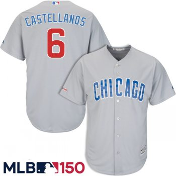 Men's Chicago Cubs #6 Nick Castellanos Gray 150th Patch Cool Base Jersey