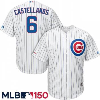 Men's Chicago Cubs #6 Nick Castellanos White 150th Patch Cool Base Jersey