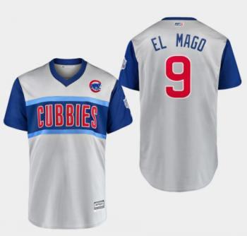 Men's Chicago Cubs #9 Javier Baez El Mago Gray 2019 Baseball Little League Classic Player Jersey