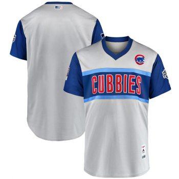 Men's Chicago Cubs Blank Gray 2019 Baseball Little League Classic Team Jersey