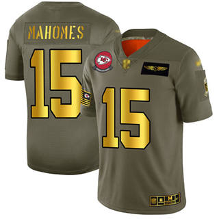 Men's Chiefs #15 Patrick Mahomes Camo Gold Stitched Football Limited 2019 Salute To Service Jersey
