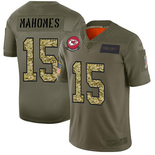 Men's Chiefs #15 Patrick Mahomes Olive Camo Stitched Football Limited 2019 Salute To Service Jersey