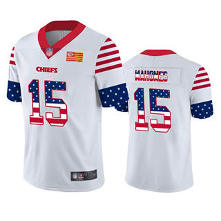 Men's Chiefs #15 Patrick Mahomes White Stitched Football Limited Independence Day Jersey