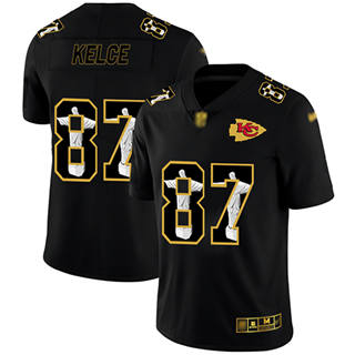 Men's Chiefs #87 Travis Kelce Black Stitched Football Limited Jesus Faith Jersey