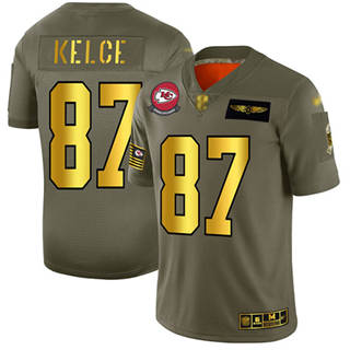 Men's Chiefs #87 Travis Kelce Camo Gold Stitched Football Limited 2019 Salute To Service Jersey