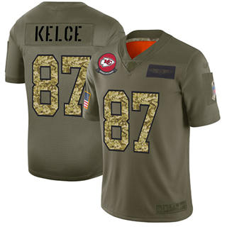 Men's Chiefs #87 Travis Kelce Olive Camo Stitched Football Limited 2019 Salute To Service Jersey