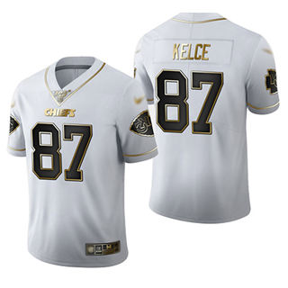 Men's Chiefs #87 Travis Kelce White Stitched Football Limited Golden Edition Jersey