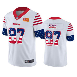 Men's Chiefs #87 Travis Kelce White Stitched Football Limited Independence Day Jersey