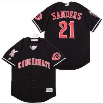 Men's Cincinnati Reds #21 Deion Sanders Black Cool Base Jersey