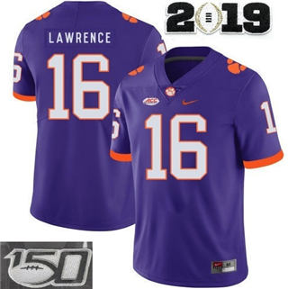 Men's Clemson Tigers #16 Trevor Lawrence Jersey College 2019 Purple With 150th Patch