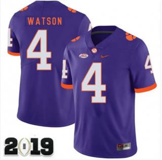 Men's Clemson Tigers #4 Deshaun Watson 2019 Football Jersey Purple