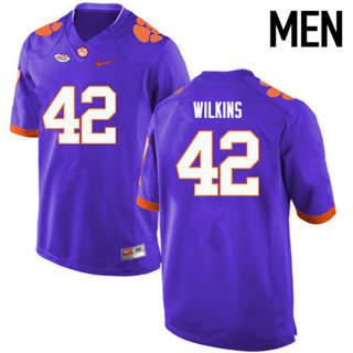 Men's Clemson Tigers #42 Christian Wilkins Purple Football Jersey