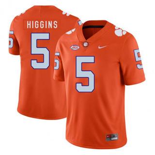 Men's Clemson Tigers #5 Tee Higgins Jersey Orange NCAA Football 19-20
