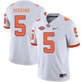 Men's Clemson Tigers #5 Tee Higgins Jersey White NCAA Football 19-20