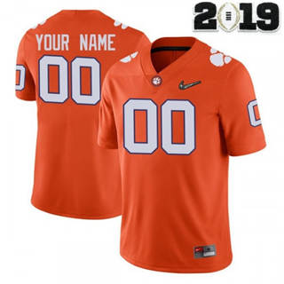 Men's Clemson Tigers Custom Name Number 2019 Patch Football Jersey Orange
