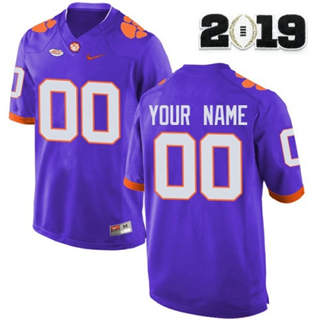 Men's Clemson Tigers Custom Name Number 2019 Patch Football Jersey Purple