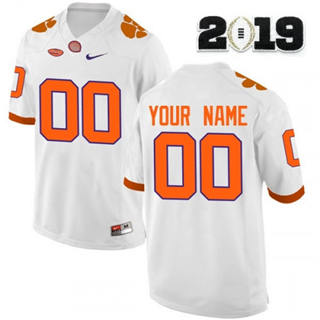 Men's Clemson Tigers Custom Name Number 2019 Patch Football Jersey White