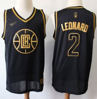 Men's Clippers #2 Kawhi Leonard Black Gold Basketball Swingman Limited Edition Jersey