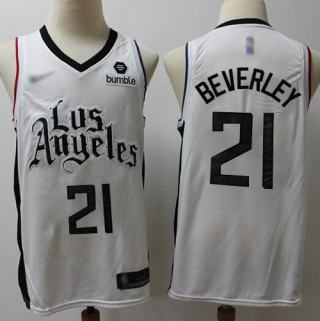 Men's Clippers #21 Patrick Beverley White Basketball Swingman City Edition 2019-2020 Jersey