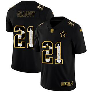 Men's Cowboys #21 Ezekiel Elliott Black Stitched Football Limited Jesus Faith Jersey