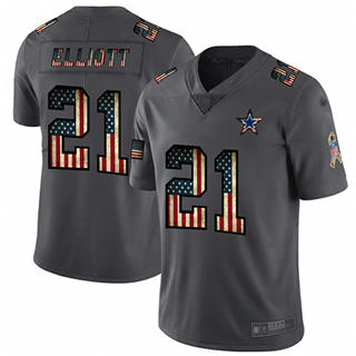 Men's Cowboys #21 Ezekiel Elliott Carbon Black Stitched Football Limited Retro Flag Jersey