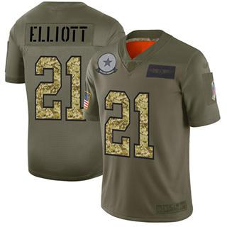 Men's Cowboys #21 Ezekiel Elliott Olive Camo Stitched Football Limited 2019 Salute To Service Jersey