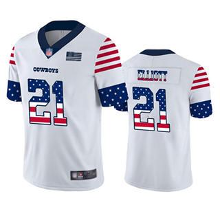 Men's Cowboys #21 Ezekiel Elliott White Stitched Football Limited Independence Day Jersey
