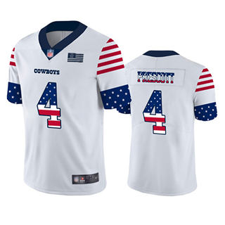 Men's Cowboys #4 Dak Prescott White Stitched Football Limited Independence Day Jersey