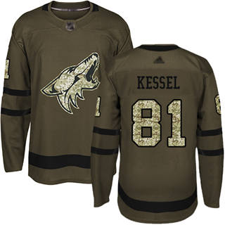 Men's Coyotes #81 Phil Kessel Green Salute to Service Stitched Hockey Jersey
