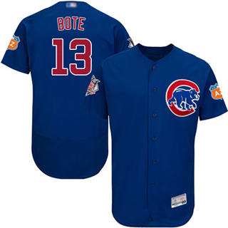 Men's Cubs #13 David Bote Blue Flexbase  Collection Stitched Baseball Jersey