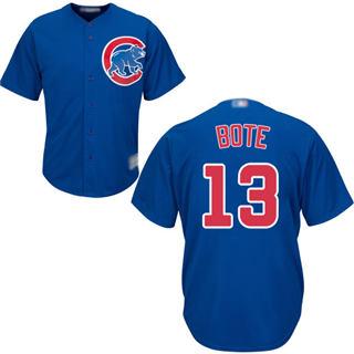 Men's Cubs #13 David Bote Blue New Cool Base Stitched Baseball Jersey