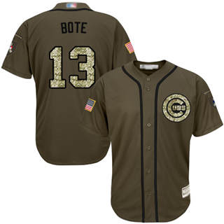 Men's Cubs #13 David Bote Green Salute to Service Stitched Baseball Jersey