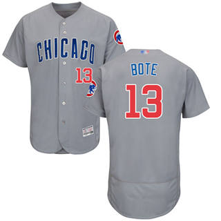 Men's Cubs #13 David Bote Grey Flexbase  Collection Road Stitched Baseball Jersey