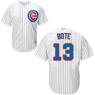 Men's Cubs #13 David Bote White Strip New Cool Base Stitched Baseball Jersey
