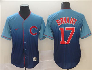 Men's Cubs #17 Kris Bryant Royal Fade  Stitched Baseball Jersey