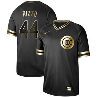 Men's Cubs #44 Anthony Rizzo Black Gold  Stitched Baseball Jersey