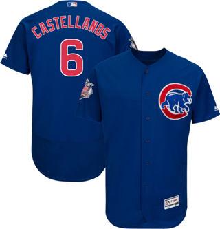 Men's Cubs #6 Nicholas Castellanos Blue Flexbase  Collection Stitched Baseball Jersey